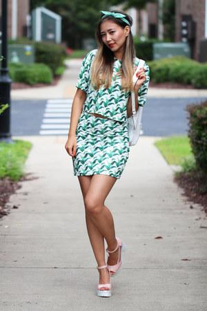 green StyleMoi dress - white StyleMoi bag - light pink romwe sandals