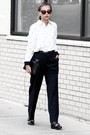 Neutral-customellow-shirt-black-new-look-flats-black-perry-ellis-pants