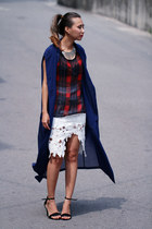 white Chicwish skirt - navy chiffon Front Row Shop coat