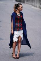 white Chicwish skirt - navy chiffon Front Row Shop coat