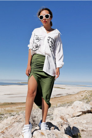 olive green Fashion Frenzzie skirt - white Intermixonline shirt
