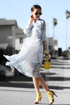 yellow coach bag - light blue Dezzal dress - yellow Payless heels