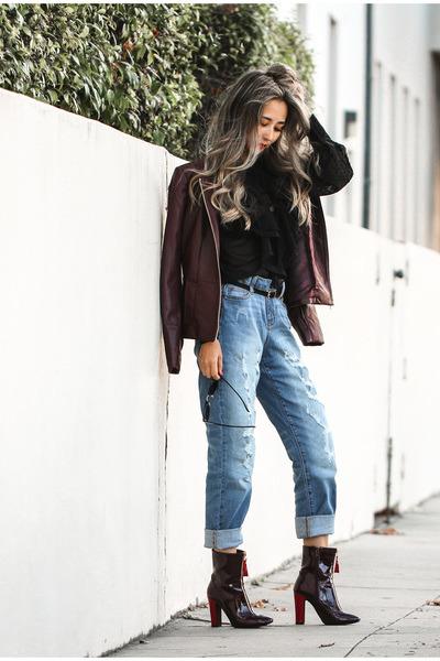 sky blue JCPenney jeans - ruby red JCPenney jacket - black JCPenney blouse