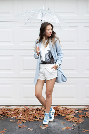 sky blue OASAP blazer - white Sheinside sweater - white OASAP bag