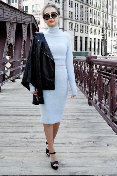 black Forever 21 jacket - sky blue Lulus dress - black Michael Kors heels