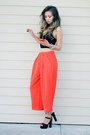 Carrot-orange-front-row-shop-pants-black-young-hungry-free-top