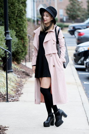light pink style moi coat - black Sheinside dress - heather gray Yoins bag