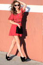 Black-allhqfashion-shoes-red-style-moi-dress-ruby-red-zerouv-sunglasses