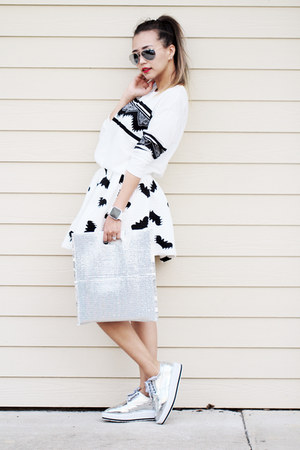 white Sheinside skirt - silver younghungryfree boots