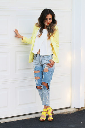 light yellow Nordstrom blazer - sky blue blackfive jeans