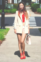red blackfive heels - nude Chicwish blazer - light pink asos bag