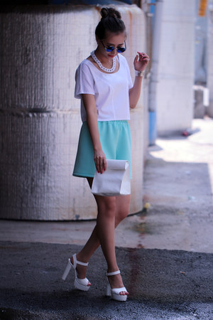 white yesimfrench bag - aquamarine yesimfrench shorts - white yesimfrench top