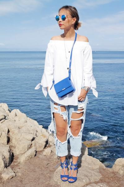 blue Aqua Pillar sandals - navy style moi jeans - white Sheinside top