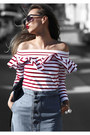Ruby-red-lucky-chouette-top-sky-blue-madewell-skirt-navy-nina-shoes-sandals