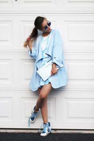 sky blue blackfive coat - sky blue Chicwish dress - sky blue Lebunny sneakers