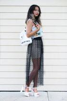white romwe top - white romwe bag - black Kahri skirt