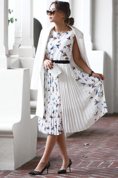 white Chloe dress - white Topshop coat - black NIna Shoes bag
