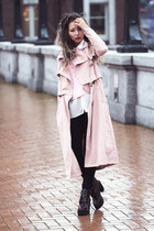 peach style moi coat - brick red Nasty Gal boots - gold style moi ring