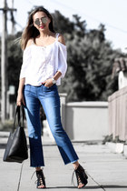 white Band of Gypsies top - blue Sanctury Clothes jeans - black NY&Company bag