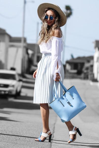 sky blue Poupee de Papier bag - nude Nordstrom hat - white free people top