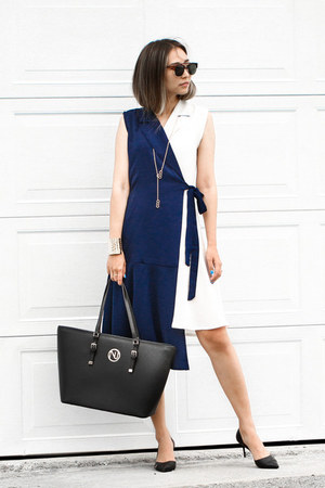 navy storets dress - black NIna Shoes heels