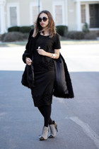 black Tobi coat - charcoal gray castro boots - navy Zohara tights