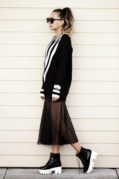 black knit Sheinside sweater - black blackfive boots