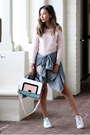Bubble-gum-lookbook-dress-navy-express-jacket-white-stan-smith-sneakers