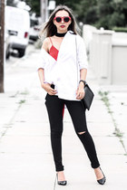 black Karmaloop jeans - black NIna Shoes heels - black lulus necklace