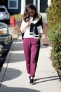 White-style-moi-ring-magenta-lulus-pants-silver-very-honey-necklace