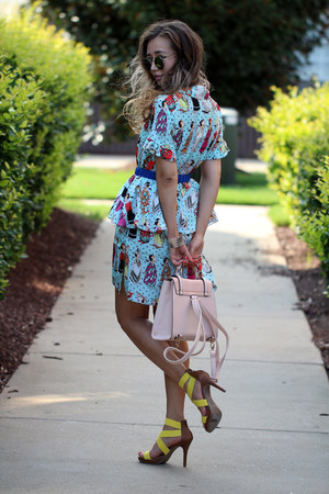 aquamarine YIGELILA dress - light pink asos bag