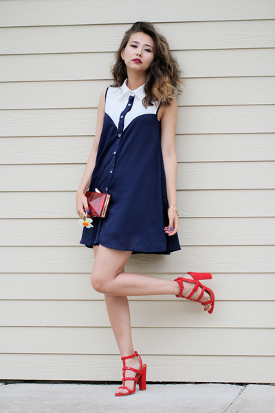 bc1184e2fdb navy style moi dress - red Lulus sandals