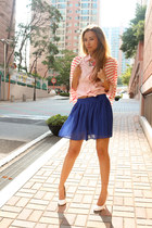 bubble gum Forever 21 shirt - blue chiffon Forever 21 skirt