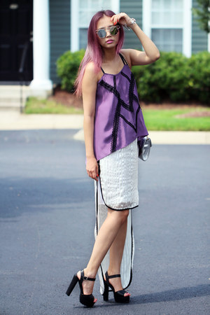 white Kahri skirt - silver milanoo bag - violet Kahri top