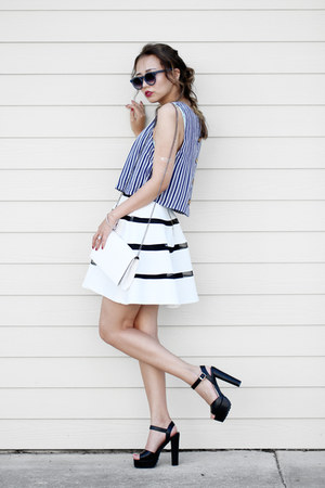 navy Forever 21 top - navy Polette sunglasses - white Flourish Boutique skirt