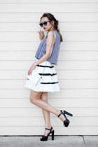 navy Forever 21 top - navy Polette sunglasses - white Flourish Boutique skirt