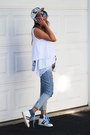 Sky-blue-distressed-blackfive-jeans-white-floral-print-eloq-hat