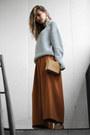 Light-blue-ifchic-sweater-brown-oasap-bag-tawny-chloe-pants