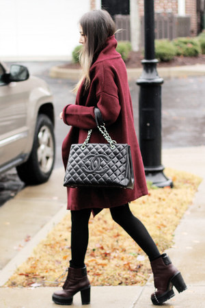 brick red Sheinside cardigan - brick red Shellys London boots