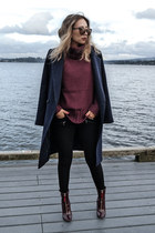 brick red Public desire boots - navy Oasis coat - brick red lulus sweater