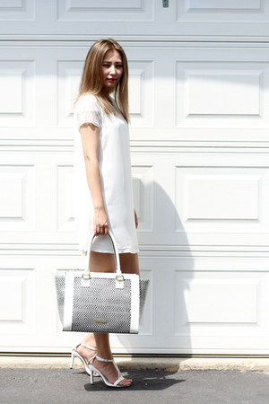 white Sheinside dress - white Rachel Marie Designs necklace