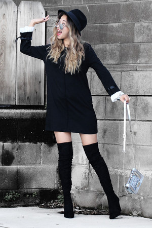 black Public desire boots - black Sheinside dress - black asos hat