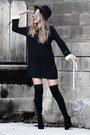 Black-public-desire-boots-black-sheinside-dress-black-asos-hat