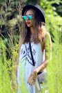 White-she-inside-dress-black-forever-21-hat-blue-polette-sunglasses