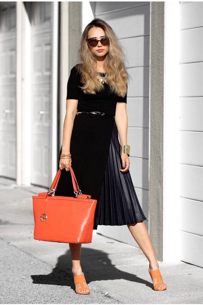 black JCrew skirt - orange Nuciano bag - black sans souci top