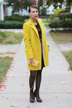 yellow OASAP coat - yellow Aldo bag - gold Kristin Perry earrings