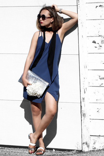 black H&M scarf - navy Cooper & Ella dress