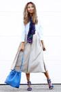 White-forever-21-shirt-navy-vèvèlle-scarf-blue-poupee-de-papier-bag