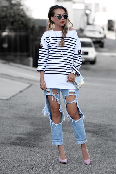 white WannaBK sweatshirt - silver NIna Shoes bag - bubble gum NIna Shoes heels