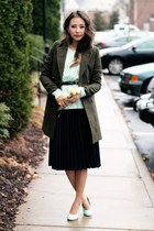aquamarine Sheinside sweater - dark green OASAP coat - aquamarine Zappos heels